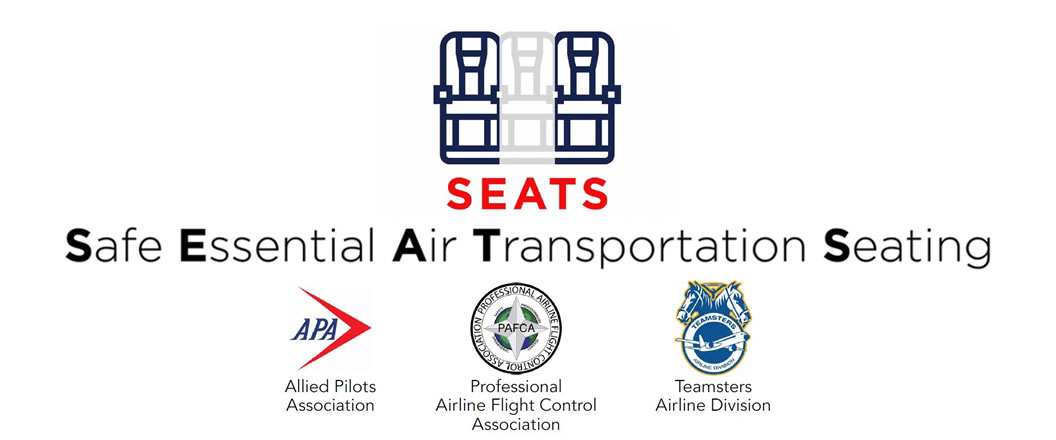 Safe Essential Air Transportation Seating - SEATS Act Logo